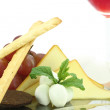 Stock Photo: Appetizer with cheese, grissini and grapes