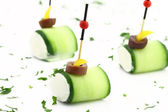 Finger food with Cucumber and cheese cream — Stock Photo