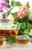 Tea cups and tea pot — Stock Photo