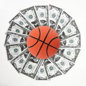 Basket and money — Stock Photo