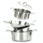Group of stainless steel kitchenware — Stock Photo