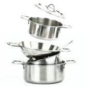 Grupa stali nierdzewnej kuchenne — Zdjęcie stockowe