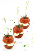 Finger food. Cherry tomatoes with mozzarella — Stock Photo