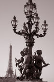 Pont Alexandre III Bridge with the Eiffle Tower, Paris — Stock Photo