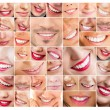 Faces of smiling in set. Healthy teeth. Smile - Stock Photo