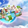 Stock Photo: Photo of different are glowing at world map. International communication concept