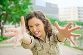 Portrait of beautiful young woman having good time outdoors — Stock Photo