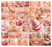 Faces of smiling in set. Healthy teeth. Smile — 图库照片