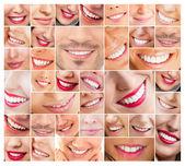 Rostos de sorrir em conjunto. dentes saudáveis. sorriso — Foto Stock