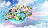 Photo of different are glowing at world map. International communication concept — Stock Photo