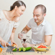 Young lovely couple cooking a balanced diet. Big copyspace. Vita — Stock Photo #10580665