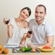Young love couple cooking — Stock Photo