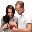 Young man making love proposal to a lady of his choice — Stock Photo #10580964