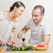 Young love couple cooking. Big copyspace — Stock Photo