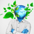 Man with earth enclosed and growing instead of his head - Stock Photo