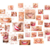 Faces of smiling in set. Healthy teeth. Smile — Zdjęcie stockowe