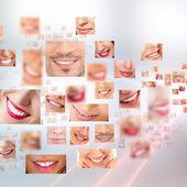 Ansikten leende i set. friska tänder. leende — Stockfoto