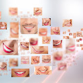 Faces of smiling in set. Healthy teeth. Smile — Stok fotoğraf