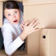 Portrait of young woman surrounded by lots of boxes. Lots of wor — Stock Photo #10662973
