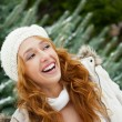 Portrait of young pretty woman in winter park — Stock Photo #8204173