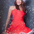 Portrait of beautiful young christmas woman posing wearing santa — Stock Photo #8204371
