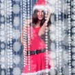 Portrait of beautiful young christmas woman posing wearing santa — Stock Photo #8204379