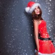 Portrait of beautiful young christmas woman posing wearing santa — Stock Photo #8204398