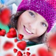 Beautiful and cheerful young lady in a happy and love mood outdo — Stock Photo #8659803