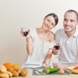 Young love couple cooking — Stock Photo #8659842