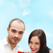 Portrait of young beautiful couple having tea or coffee beverage — Stock Photo #8660173