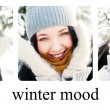 Three Portraits of young beautiful girl outdoors in winter havin — Stock Photo