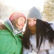 Stock Photo: Two winter women walking and chatting together in winter park.