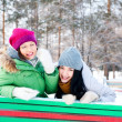 Two happy young girls having fun in winter park — Stock Photo #8660347