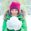 Portrait of a woman in winter park — Stock Photo