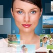 Portrait of young happy woman sharing his photo and video files — Stock Photo