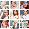Collection of 9 square pictures with closeup portraits of differ - Stock Photo