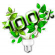 Energy saving eco lamp with green values concept - ストック写真
