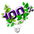 Stock Photo: Energy saving eco lamp with green values concept
