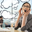 Portrait of a beautiful young businesswoman on the phone and hap — Stock Photo #8661668