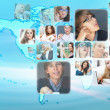 Graphic design background. World map and photo of different peop — Stock Photo