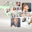 Graphic design background. World map and photo of different peop — 图库照片