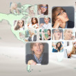 Graphic design background. World map and photo of different peop — ストック写真