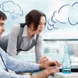 A business team of two colleagues planning work in office. Blank — Stock Photo
