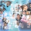 Photo of business are glowing at world map. International - Stock Photo