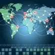 world map with hot points of connections network and servers loc — Stock Photo #8662505