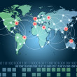 World map with hot points of connections network and servers loc — Stock Photo