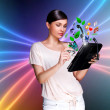 Young pretty woman using her universal device — Foto Stock
