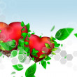 Two Beautiful bright hearts of red color with green leaves float - Stockfoto