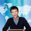 Portrait of business man of global commerce — Stock Photo
