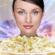 Portrait of young stylish modern woman watching movie at home an — Stock Photo